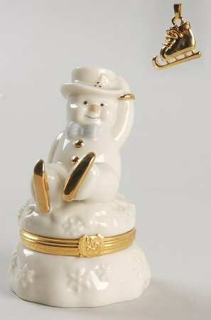 (Lenox Treasures -The Skating Adventure Snowman Treasure Box)