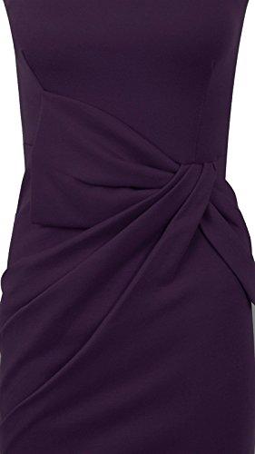 Sans C Bow Fashion Peplum Side Slant Proue Femmes Midi Manches Soire Robe Violet t Fast Tunique Bodycon De Plaine x4TEf