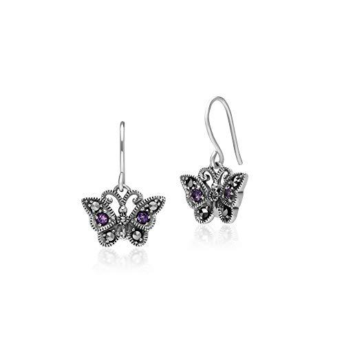 Gemondo 925 Sterling Silver Marcasite & Amethyst Post & Butterfly Drop Earrings