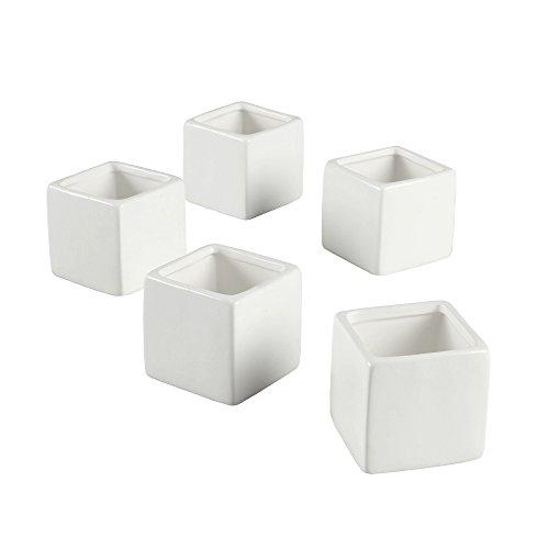 Ivy Lane Design Smooth Square Flower Pots, White, Set of 5