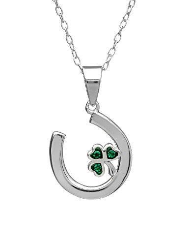 Lucky Jewelry Amethyst Dublin Horseshoe Shamrock Necklace Silver & Crystal Made in Ireland ()
