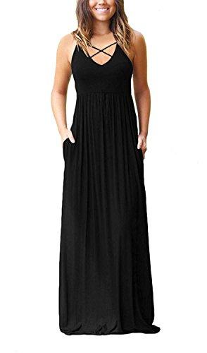 (LONGYUAN Women's Sleeveless Racerback Maxi Dresses with Pockets Plain Loose Long Dresses Black X-Large)