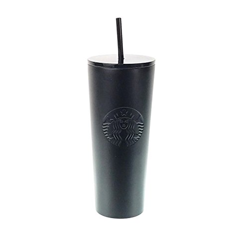 Starbucks Stainless Steel 24-Ounce Double Walled Cold Cup Tumbler Plastic Lid 2018 (Matte Black)