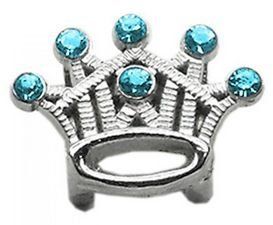 Mirage Pet Products 3/8 Slider Crystal Crown Charm Turquoise by Mirage Pet Products