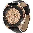 Invicta Signature II Multi-Function Rose Dial Black Leather Mens Watch 7291