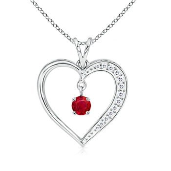 27eb79a2767 Image Unavailable. Image not available for. Color  July Birthstone -  Dangling Round Ruby Open Heart Pendant Necklace for Women in 14K White Gold