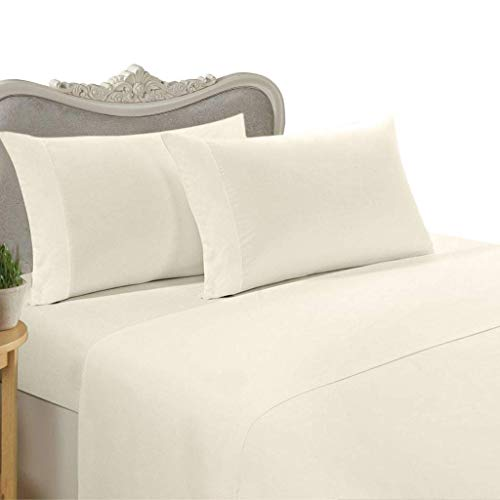 600 Thread Count Four (4) Piece King Size Ivory Solid Bed Sheet Set, 100% Egyptian Cotton, Premium Hotel Quality