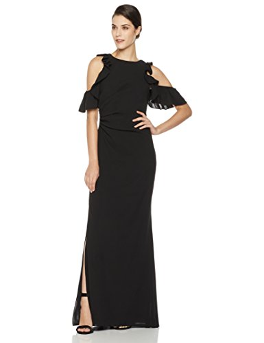 Social Graces Women's Cold-Shoulder Ruffle-Sleeve Stretch Gown with Side Slit