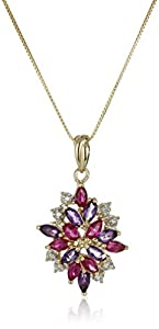 18k Yellow Gold-Plated Sterling Silver African Amethyst & Created Ruby Drop Pendant Necklace, 18