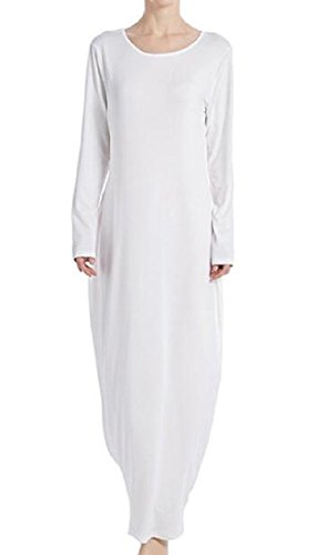 - Comfy Women's Muslim Abaya Long Sleeve Turkey Solid Dresses White M