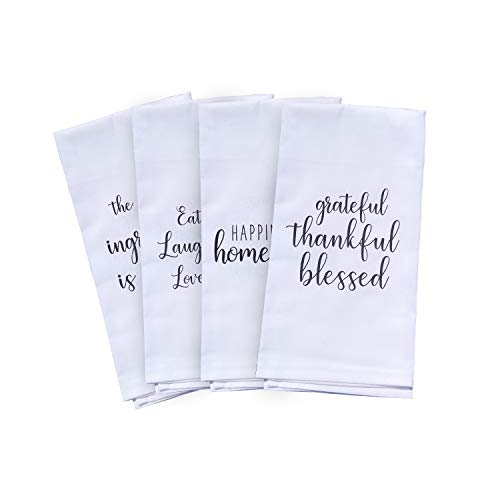 Cute Kitchen Towels Set - 4 Kitchen Towels with Printed Designs | White Hand Towels or Dish Towels Go with Any Decor| Perfect for Housewarming Gift Christmas Mothers Day Birthday (Towels Printed)