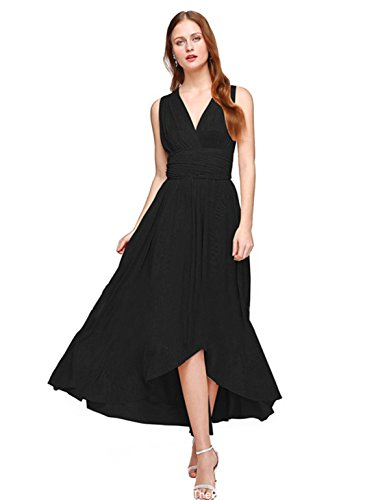 Convertible Little Black Dress - Women Convertible Multi Wrap High Low Cocktail Evening Party Dress Black L