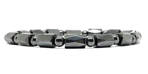 BillyTheTree Jewelry Simulated Hematite Bead Magnetic Therapy Anklet - Elastic, Stretch to - Magnetic Hematite Anklet Therapy