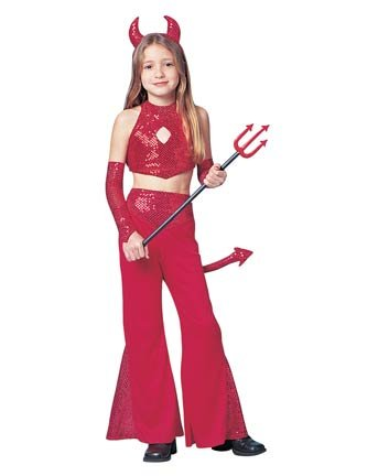 [Red Hot Devil Child Halloween Costume Size 4-6 Small] (Kids Halloween Devil Costumes)