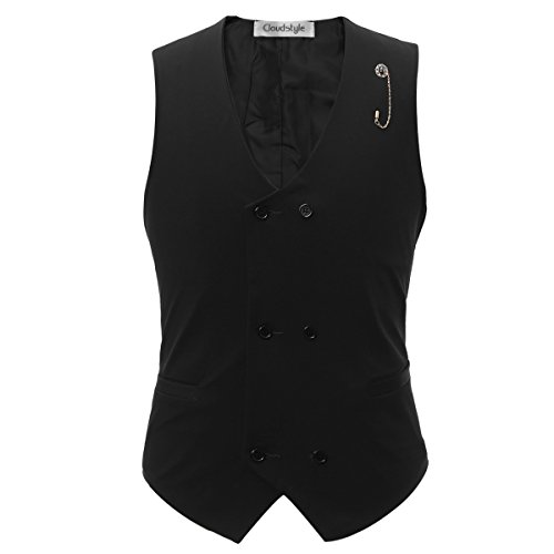 Mens Vest Fashion Double breasted Solid