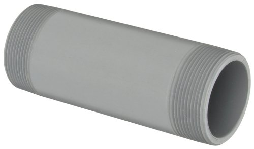 """GF Piping Systems CPVC Pipe Fitting, Nipple, Schedule 80, Gray, 6"""" Length, 2"""" MPT"""