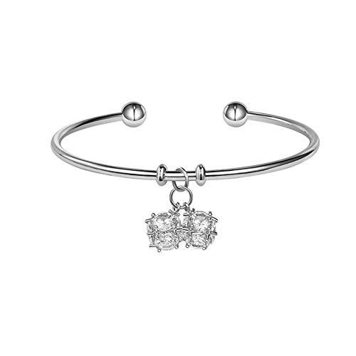 Bangle Boutique Designer Bracelets - Charm Bracelet Simple Ins Style Open Bangle Inlay Spherical Zircon Pendants Female Student Girls Jewellery Friendship Gifts