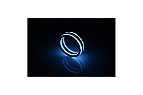 Rune Refinery CarbonFi: As Seen on Kickstarter Glow in The Dark Carbon Fiber Ring for Men & Women, Perfect Wedding Bands, Birthday Gifts & Engagement Band, Blue, 1/4