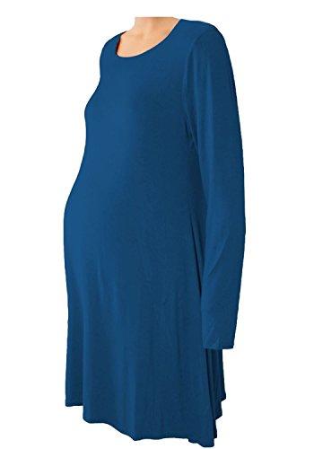 Janisramone - Vestido - Básico - Manga Larga - para mujer azul marino