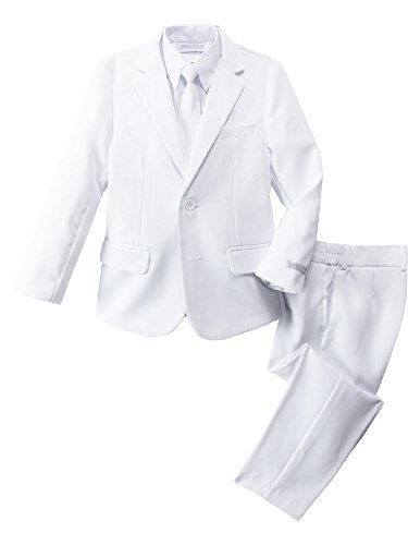 Spring Notion Boys' Modern Fit White Dress Suit Set 7