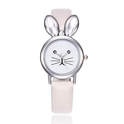 - MINILUJIA Analog Quartz Teens Girls Watch for Small Wrist Fashion Platinum Plated Charm Rabbit with PU Leather Strap Gold Tone (White)