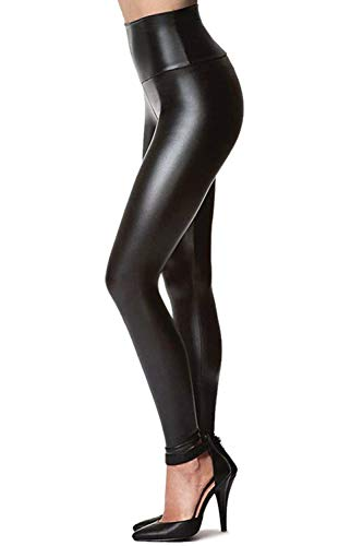 (Womens Sexy Tight Fit Faux Leather High Waisted Leggings (Black,)
