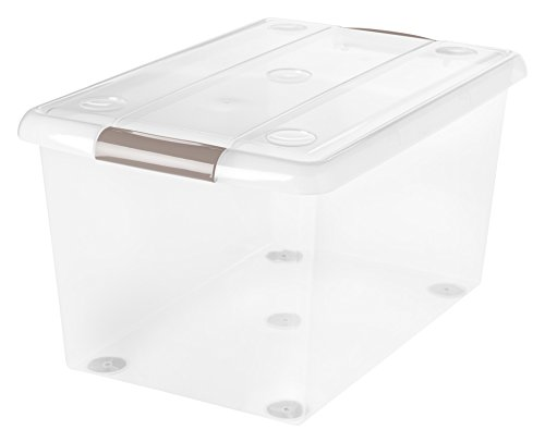 IRIS 61 Quart Store And Slide Storage Box, Clear with Tan Handles, 6 Pack by IRIS USA, Inc.