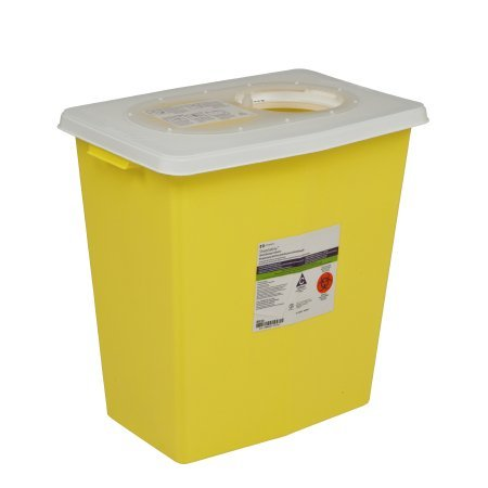 Covidien SharpSafety Chemotherapy Sharps Container Yellow Base Hinged Lid