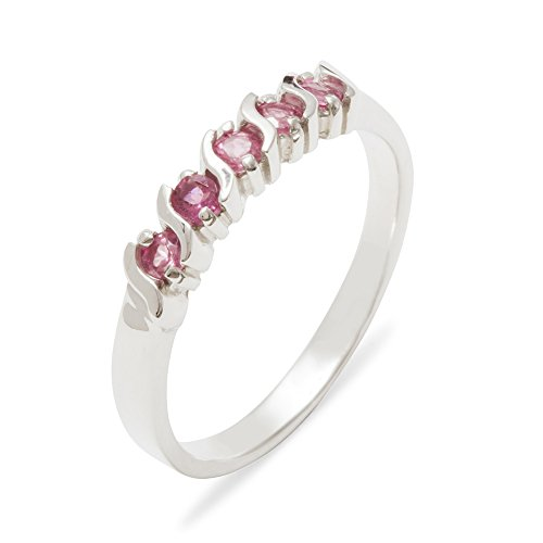 Solid 925 Sterling Silver Natural Pink Tourmaline Womens Eternity Ring - 7.75 - Size 7.75