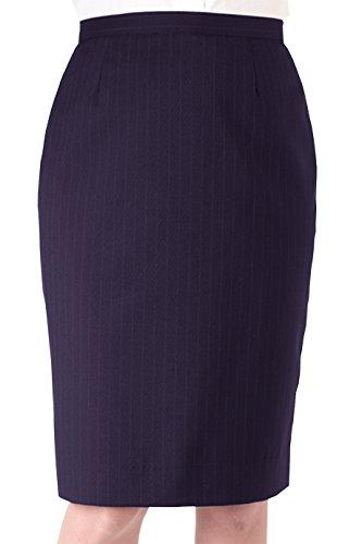 Edwards Garment Women's Straight Style Pinstripe Skirt, Navy, 4 - Fully Lined Pinstripe Skirt