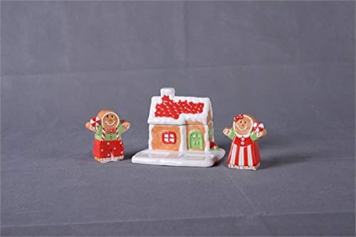 Dolomite Cute Gingerbread Man and Woman Salt and Pepper Shaker Set with Gingerbread House Toothpick Holder Stand Set of 3