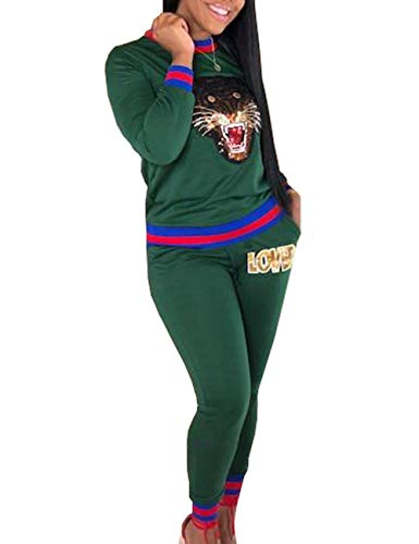 - Women's Casual Tracksuits 2 Pieces Outfits Crewneck Long Sleeve Tiger Printed Top Love Pants Sets Sweatshirts Jumpsuits Green