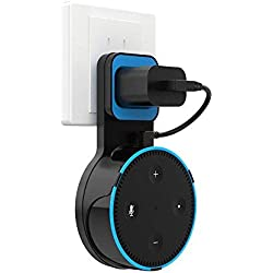 H.VIEW Echo Dot Wall Mount Holder Stand for 2nd Generation,Full Protection Shelf,A Space-Saving Solution for Your Smart Home Speakers, Hide Wires,Build-in Cable Management -Black