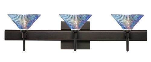 Besa Lighting 3SR-550493-BR Kona 3-Light Vanity Fixture, Dicro Swirl Art Glass Shade with Bronze - Dicro Swirl