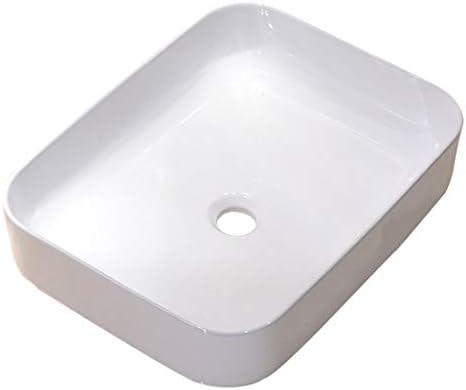 BoPin バスルームの洗面台、家庭超薄型セラミックカウンター流域(タップ無し)正方形バニティ技術流域単一流域、50X40X13.5cm ベッセルシンクシンク (Size : 50X40X13.5cm)
