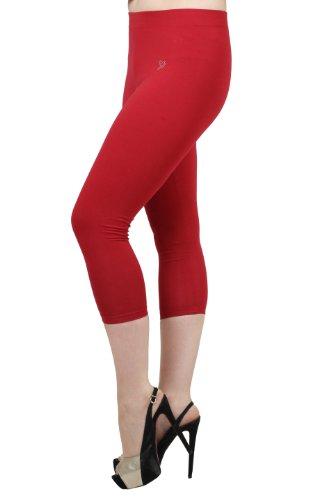 Twin Birds Cotton Jersey Knit Women's Capri Leggings Pants (Lava Red, 2X-large) ()