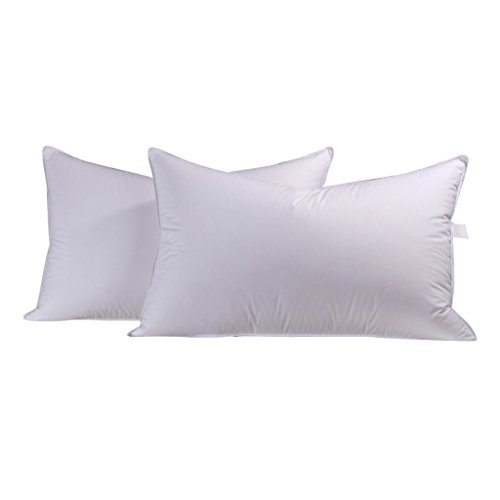 Duck Down Pillow - unite down A Pair Of Luxury Soft Duck Down Pillows,2 Pillows 100% Organic cotton Cover White Soft(Queen 20x30inch(51x76cm), White