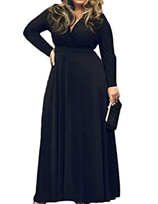 POSESHE Women's Plus Size Solid V-Neck Long Sleeve Evening Party Maxi Dress