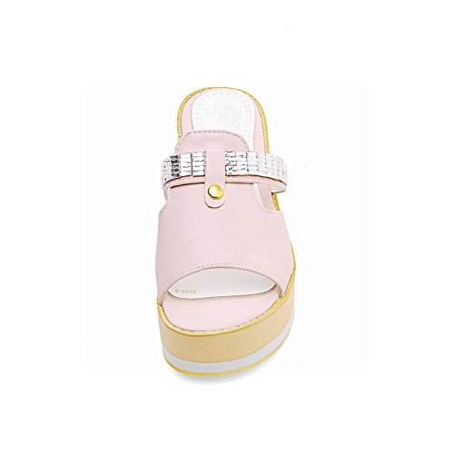 Bling Carolbar Platform Slippers Pink Shiny Rhinestone Fashion Bling Womens Cute Sweet Sandals TT4BSqg