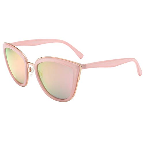 VIVIENFANG Color Mirrored Oversized Cateye Sunglasses Fashion Polarized Shades For Women P1891C Pink ()