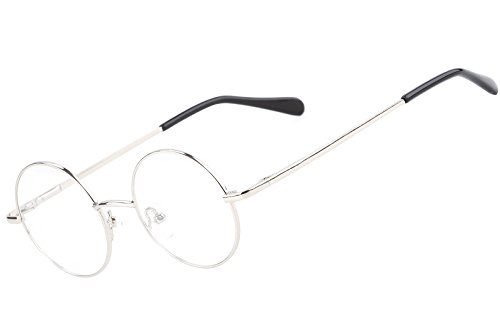 Agstum Retro Round Prescription ready Metal Eyeglass Frame (Small Size) (Silver)