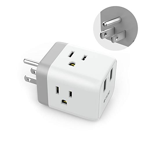 Outlet Splitter USB Wall Tap, TROND Cruise Power Strip Multi Plug Outlet Extender with 2 USB Charging Ports, Travel Adapter Cube Cruise Ship Accessories Must Have