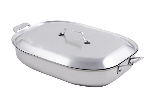 Bon Chef 60023CLD Stainless Steel Induction Bottom Cucina Oblong Pan with Lid, (Bon Chef Pan)
