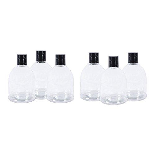PET 300 ml Refillable Plastic Travel Bell Bottle w/ Black Flip Lid, Set of 6