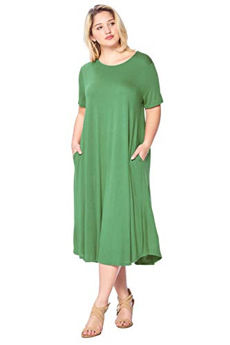 Modern Kiwi Plus Size Short Sleeve Flowy A-Line Pocket Midi Maxi Dress Kiwi 2X