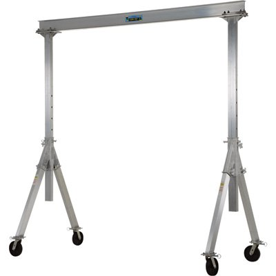 Vestil AHA-2-10-10 Aluminum Adjustable Gantry Crane, 2000 lb. Capacity, 10' Overall Beam, 96