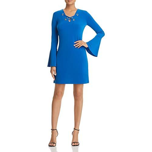 (Michael Michael Kors Womens Matte Jersey Grommet Lacing Mini Dress Blue S )
