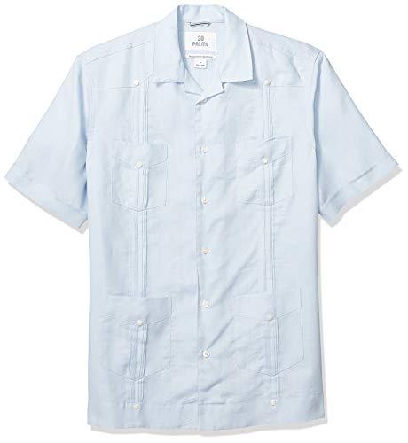 (28 Palms Men's Relaxed-Fit Short-Sleeve 100% Linen 4-Pocket Pleated Guayabera Shirt, Light Blue, Large )