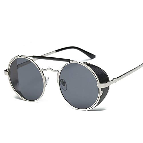 - Steampunk round sunglasses for men and women retro personality double beam sunglasses (Gold Box Gold Lens)