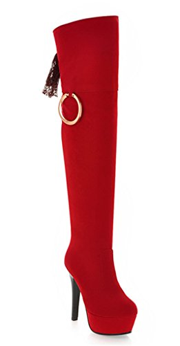 YE Women's Round Toe Lace up Suede High Heel Platform Stiletto Over The Knee Thigh High Long Boots Autumn Winte Warm Fashion Shoes Red